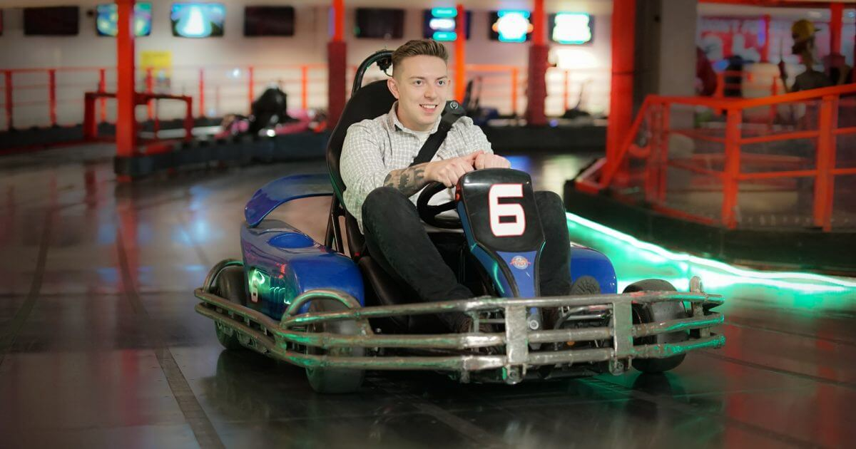 A man riding on one of the Go Karts at the Grand Pier in Weston-super-Mare.