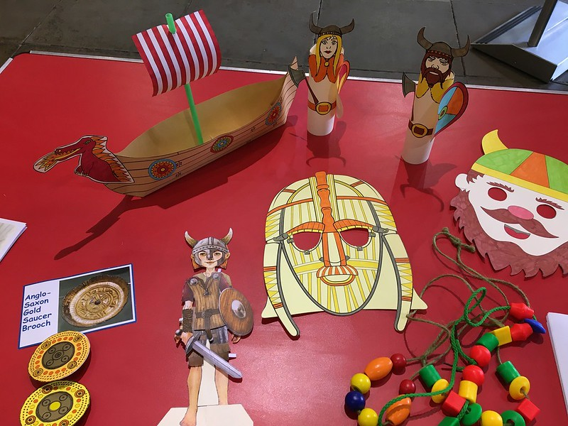Rutland County Museum crafts, viking masks and soldiers.