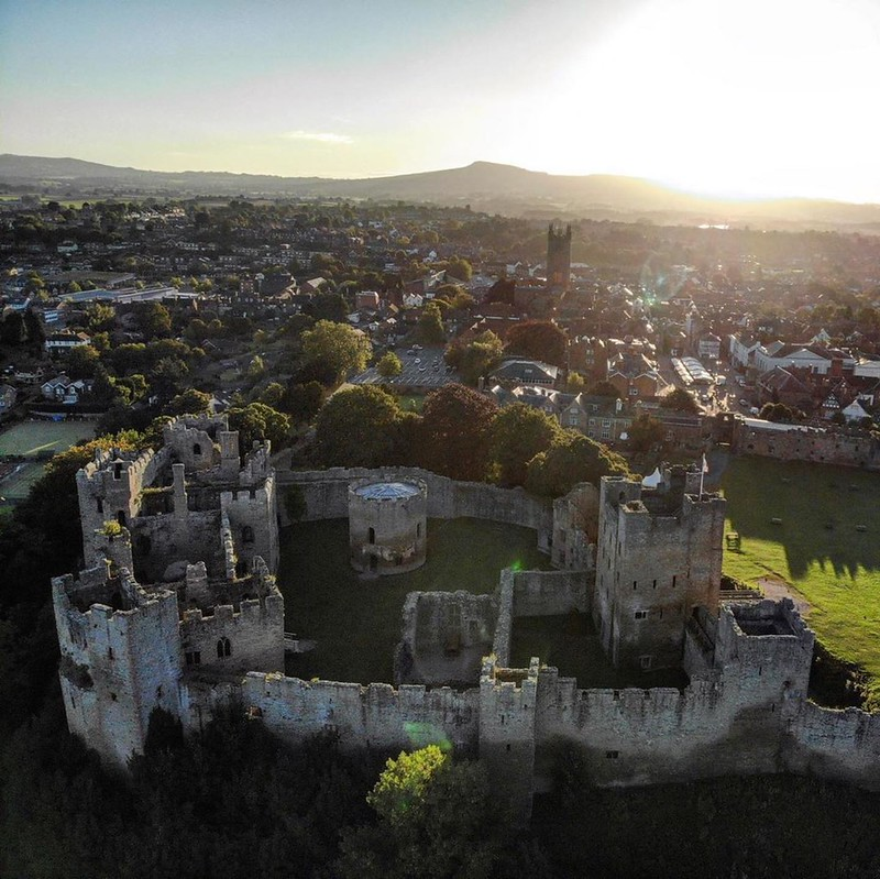 Ludlow Castle aerial view.