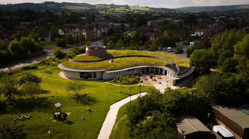 Aerial view of Shropshire Hills Discovery Centre.