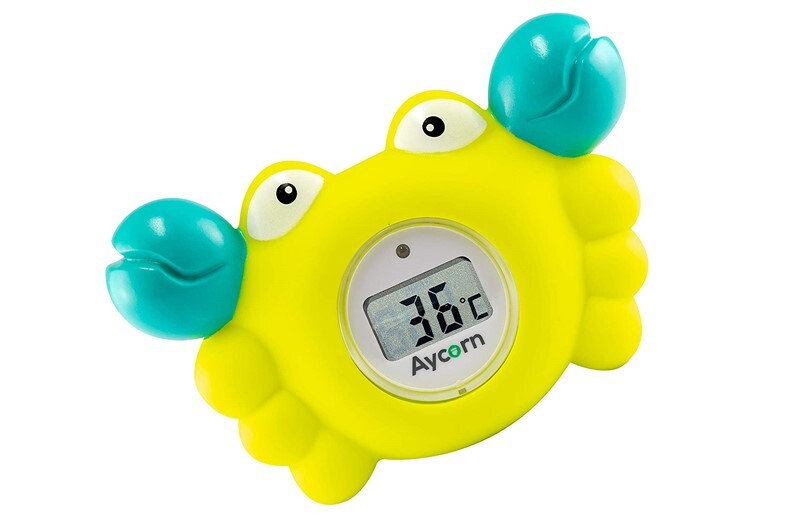 Multi purpose and durable crab design baby bath and room thermometer.