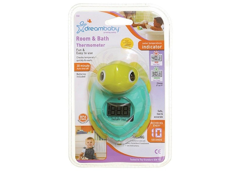 Fun, functional and easy to use room and bath turtle thermometer.