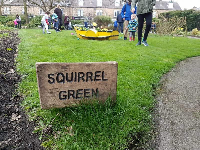 A sign for the squirrel garden at Hillsborough Park's Walled Garden.