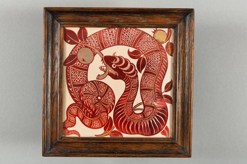 Red dragon tile displayed at Jackfield Tile Museum.