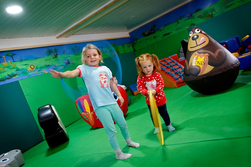 Two girls playing in soft play zone at Hoo Farm Animal Kingdom.