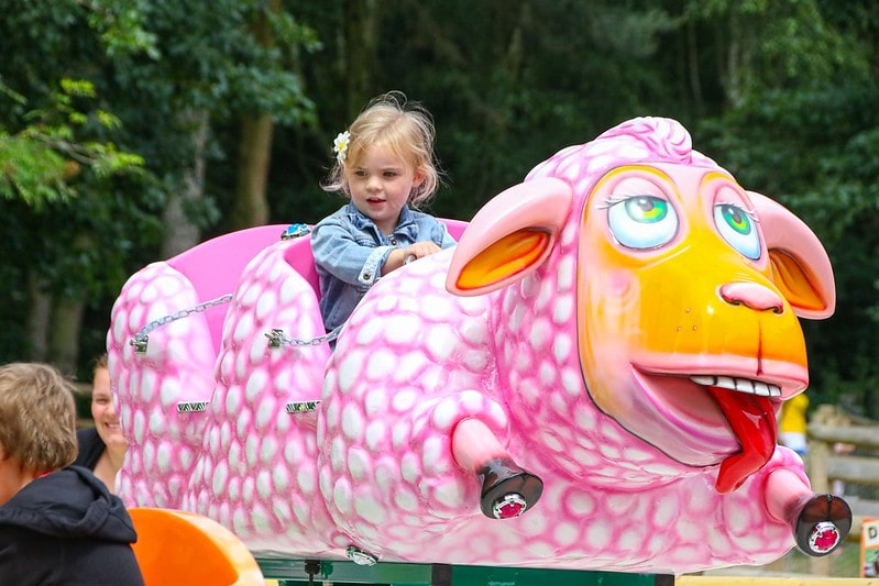 A small child riding on theme park ride at the Robin Hoods Wheelgate Park.