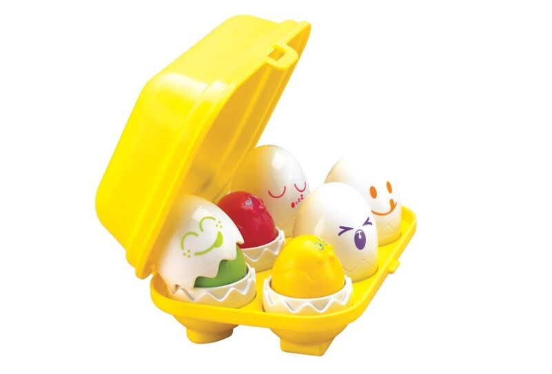 Set of hide and squeak egg in the yellow bow for fun learning style.