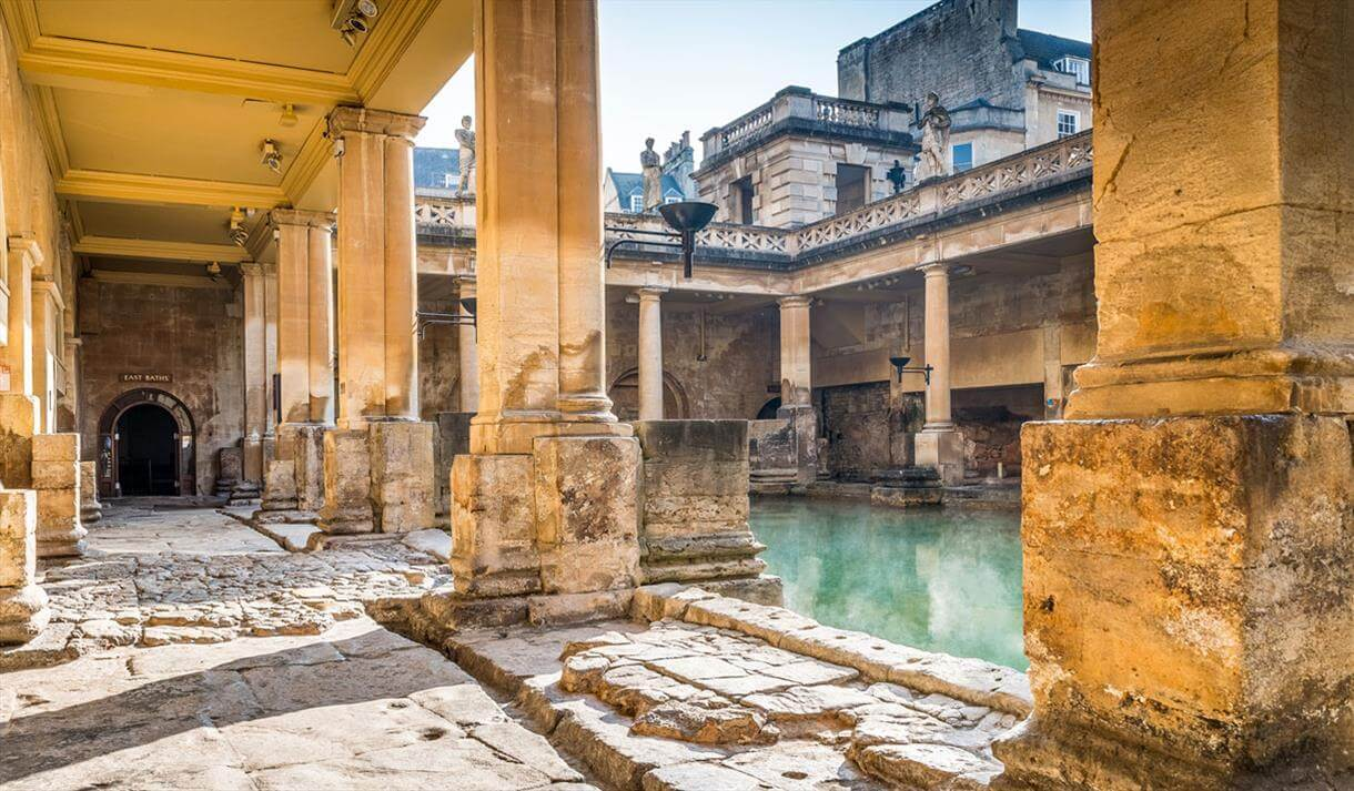 One of the ancient corridors with columns next to the Great Bath at the Roman Baths.