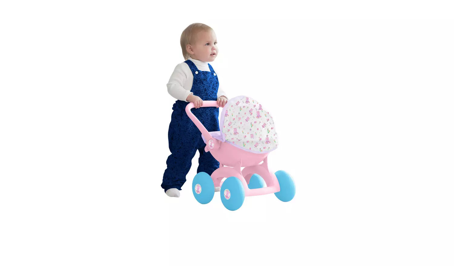 Beautiful and attractive pink peppa pig pram set perfect of peppa pig lovers.