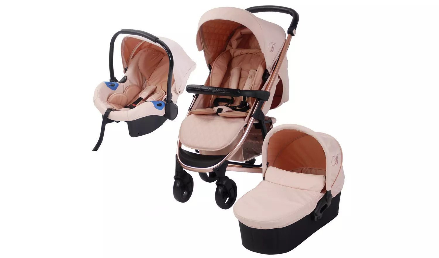 Elegant and fashionable 3 in 1 rose gold pushchair, bassinet , car seat and adaptor.