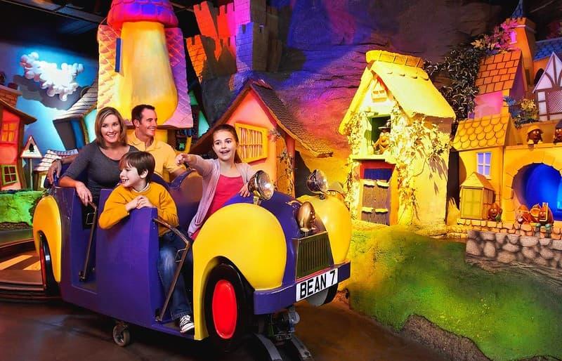 A family on the Cadabra ride at Cadbury World.