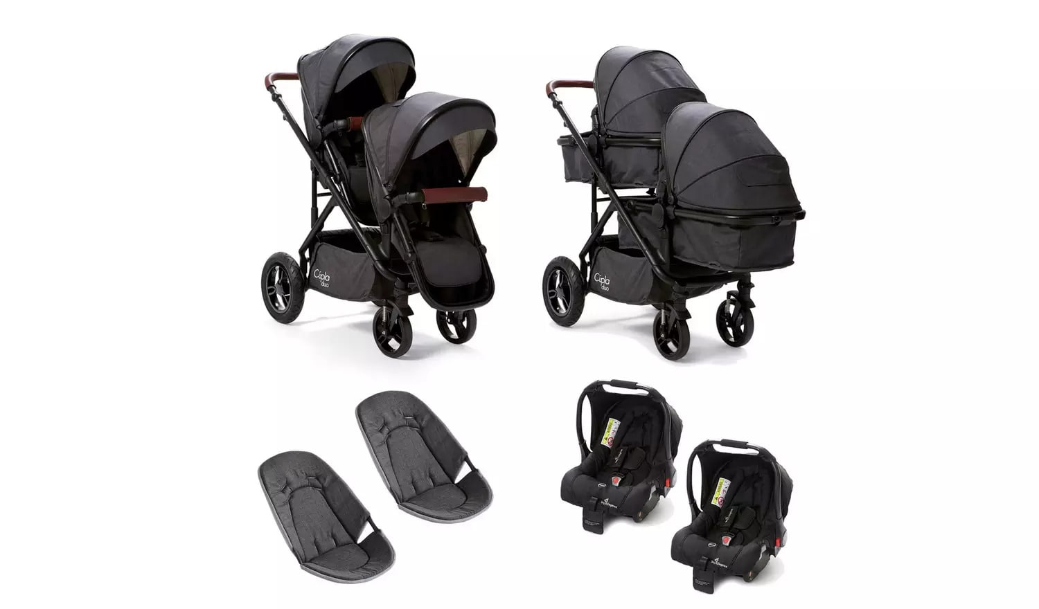 Adaptable and flexible plain black pushchair for twins.