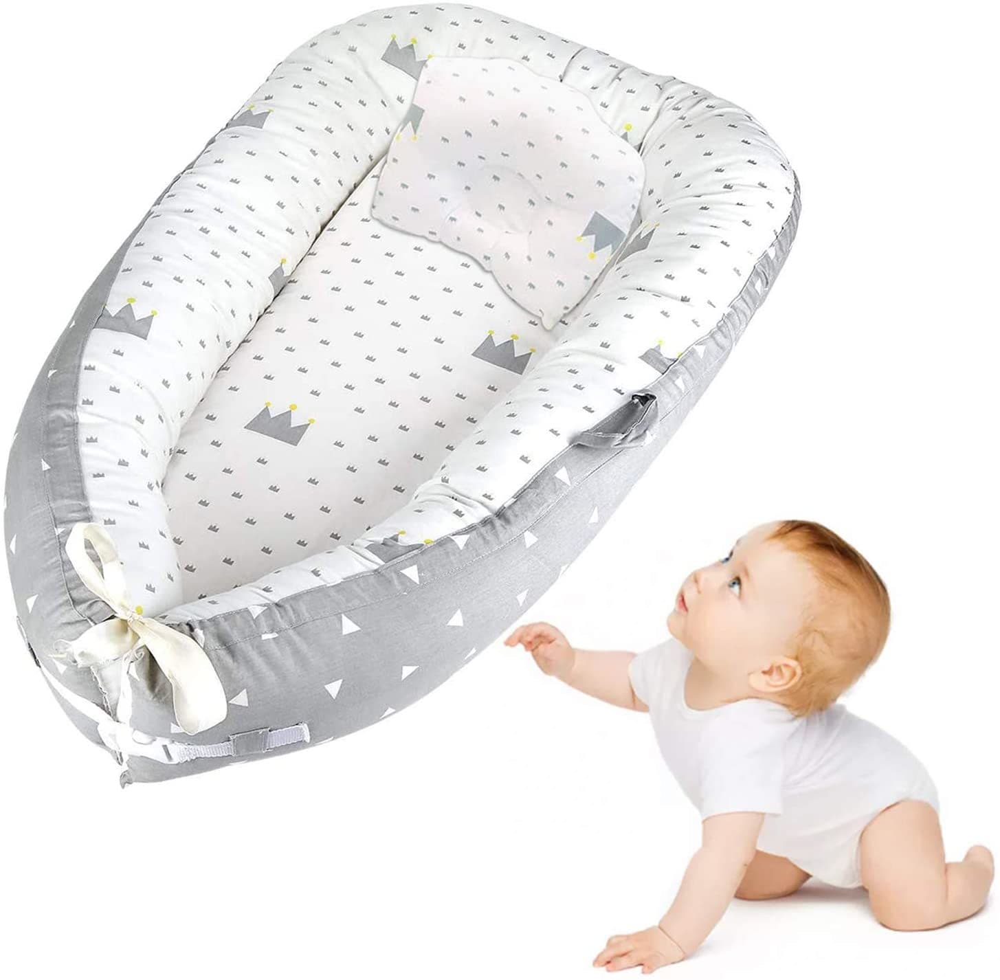 Comfortable white grey baby lounger with crow ang triangle design.
