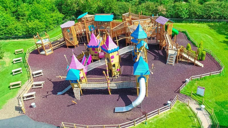 A large wooden playhouse for children at the Twinlakes Theme Park.