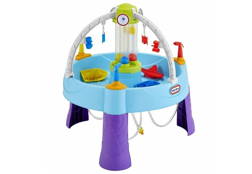 Educational and fun battle splash water table with colorful mini ships.
