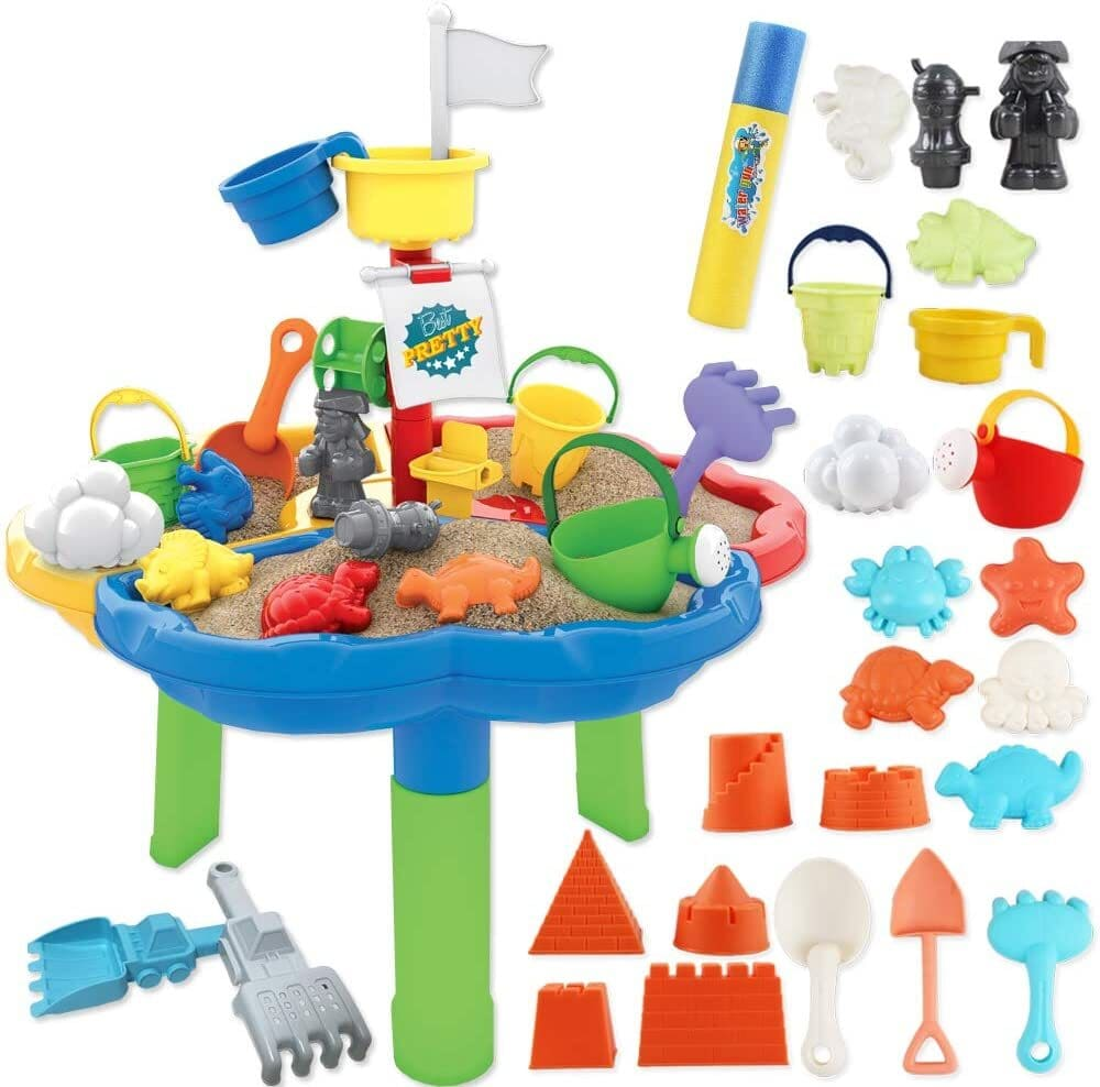 Set of  sand and water table with colorful outdoor materials.