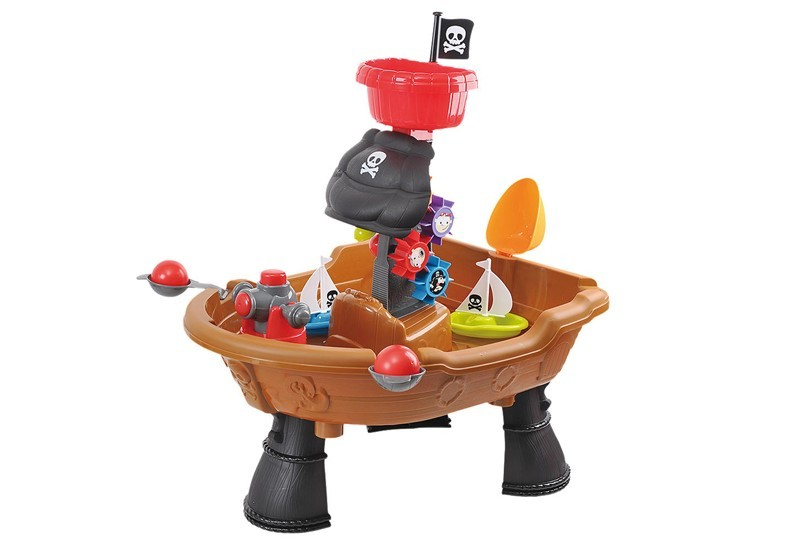 Brown ship design of pirate attack water table.