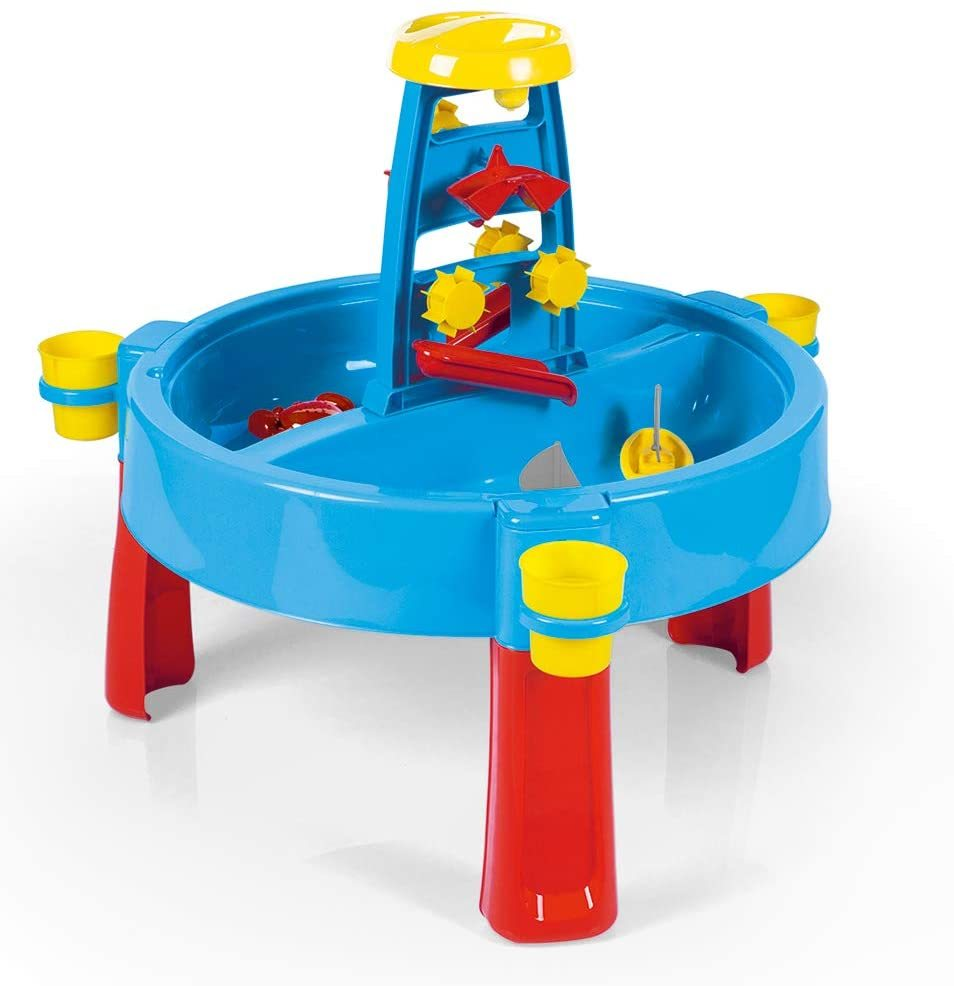 Blue red with touch of yellow sand and water activity table perfect for indoor and outdoor.