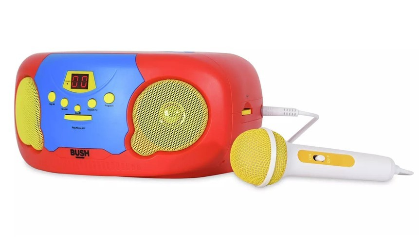 Colorful boombox with microphone perfect for music lover kids.
