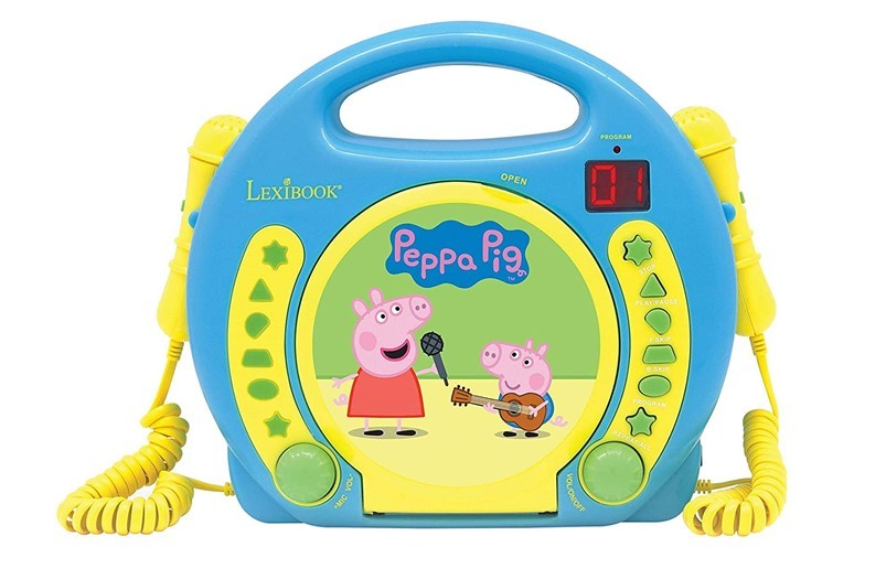 Cute yellow and blue peppa pig geoge's CD player for music lover kids.