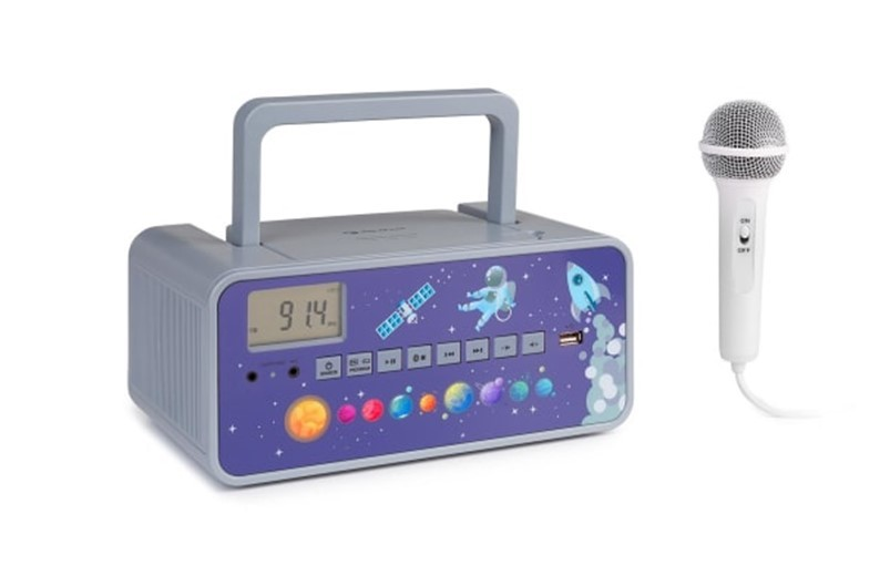 Elegant grey outer space boombox CD plyer for kids.