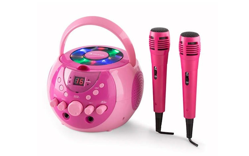 Gorgeous pink portable set karaoke system  with sparkly light fit for sassy kids.