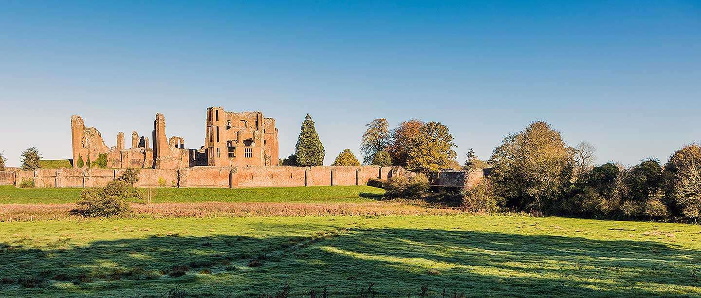 An exterior shot of the ruins of Kenilworth Castle, slighted during the English Civil War.