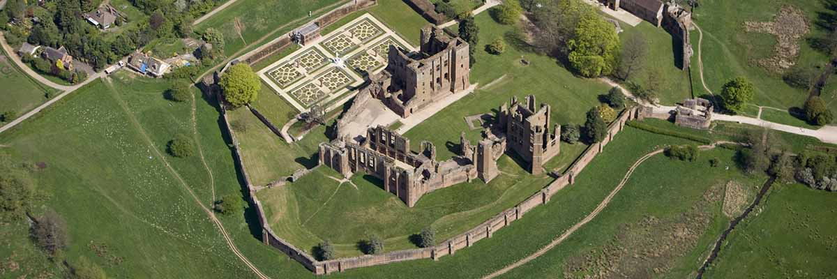 Kenilworth Castle and Elizabethan Garden from the air.