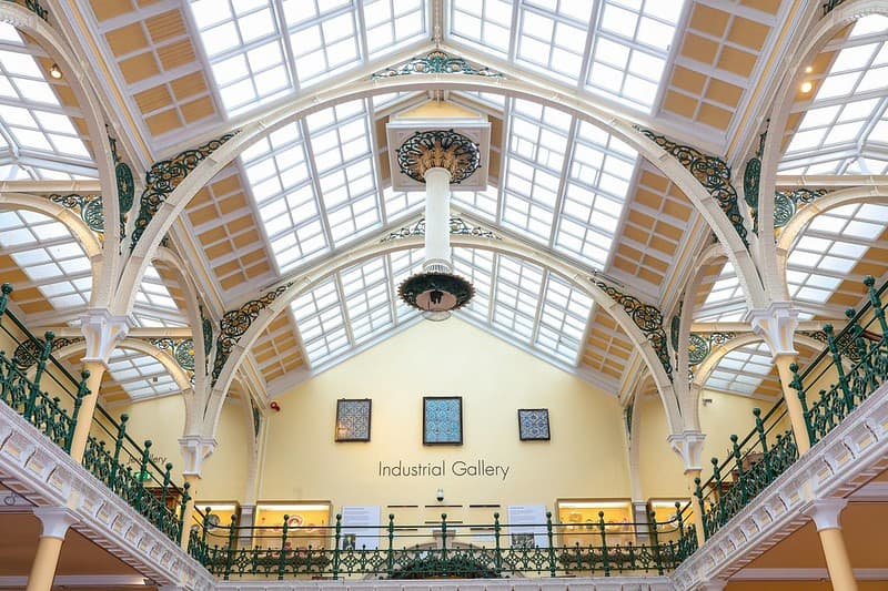 An interior glass roof of Birmingham Museum and Art Gallery.