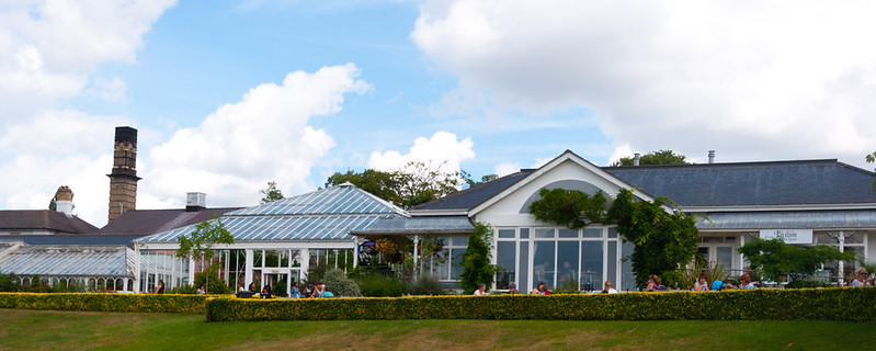 The glass Tearooms at Birmingham Botanical Gardens.