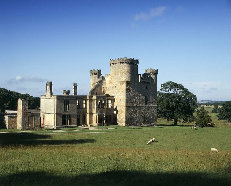 The medieval castle at Belsay Hall with sheep crazing on the grass.