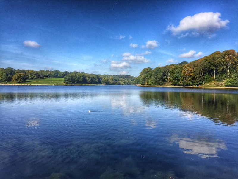 Roundhay Park landscape and lake with blue clear skies reflected in lake.