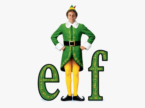 Will Ferrell dressed as an elf and standing in between the letters E and F in a promotional poster of the film Elf.