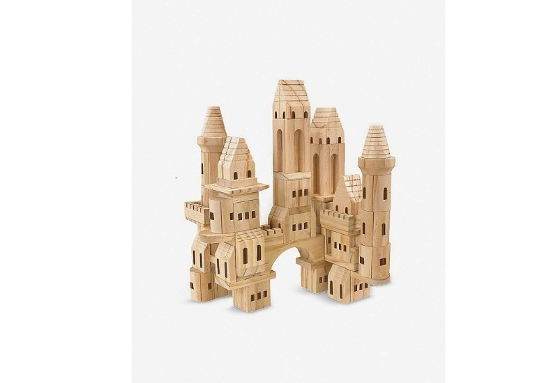 Lovable simple brown wooden castle.