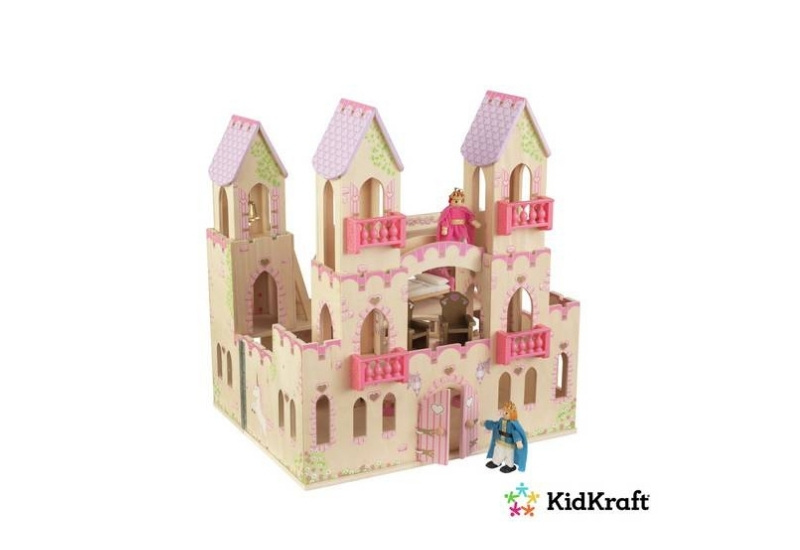 Beautiful and durable pink princess wooden doll house for sassy girls.