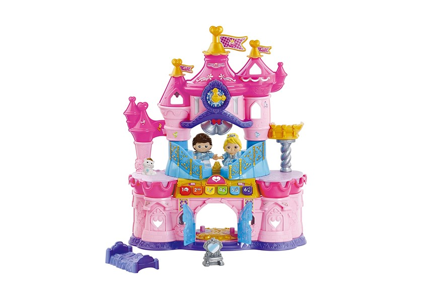 Fun and elegant mini pink magic castle with prince and princes doll.