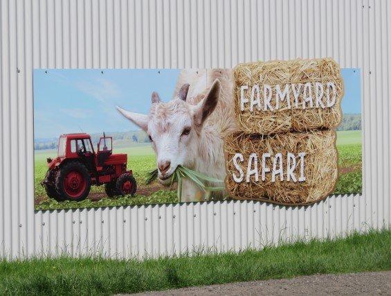 The sign for the Farmyard Safari.