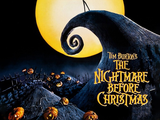 Pumpkins lying under a large yellow full moon on the promotional poster of the film The Nightmare Before Christmas.