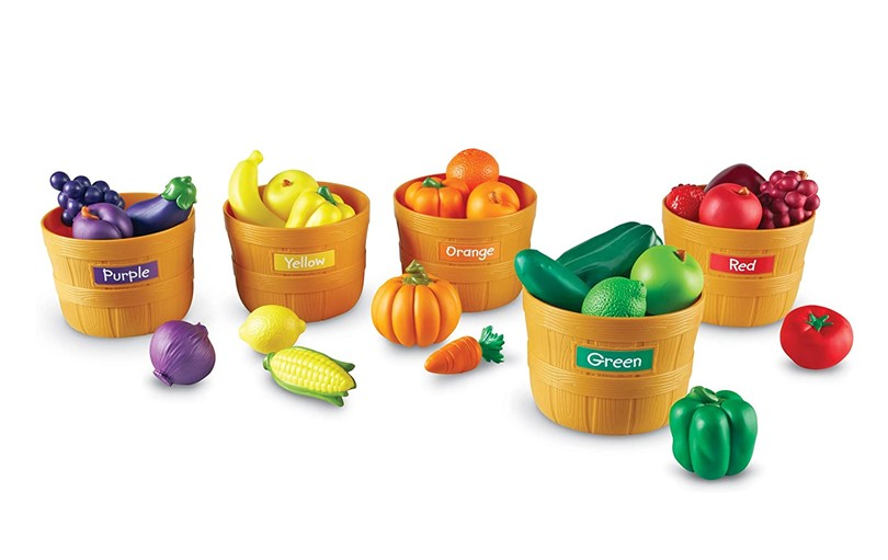 Cute orange food sorting basket with different colors labeled for fruits, vegetables and more colorful food toys.