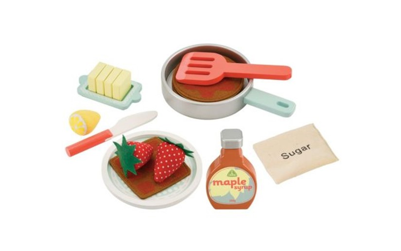 Complete set of toys, materials and ingredients for pancake.