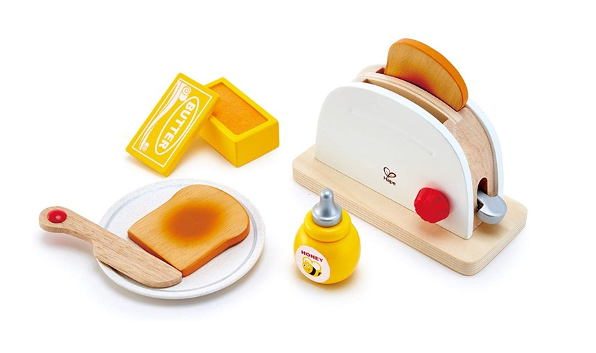 Elegant colors and attractive set of pop-up toaster and other food toys.