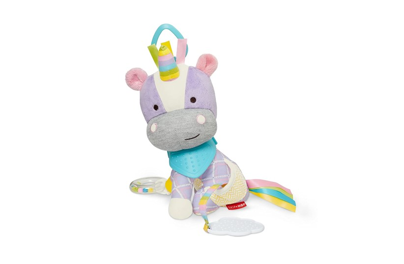 Lovable colorful fluffy buddy activity unicorn stuff toy.