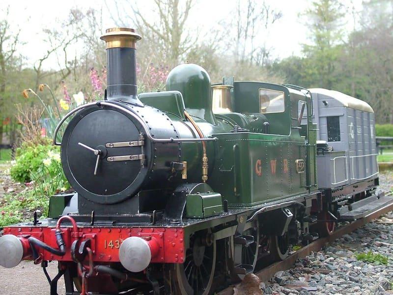 The miniature railway train at Baggeridge Country Park.