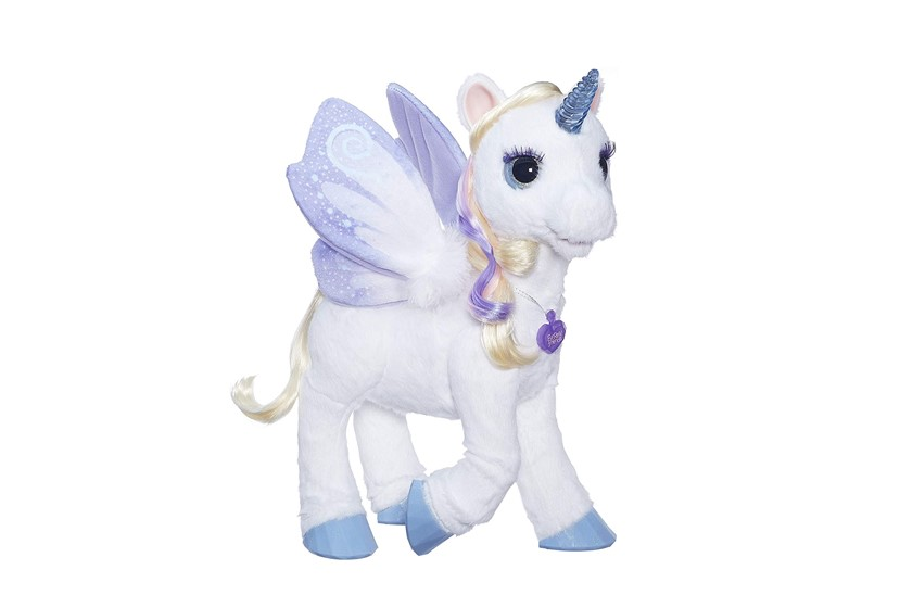 Attractive cute purple stuff toy unicorn.