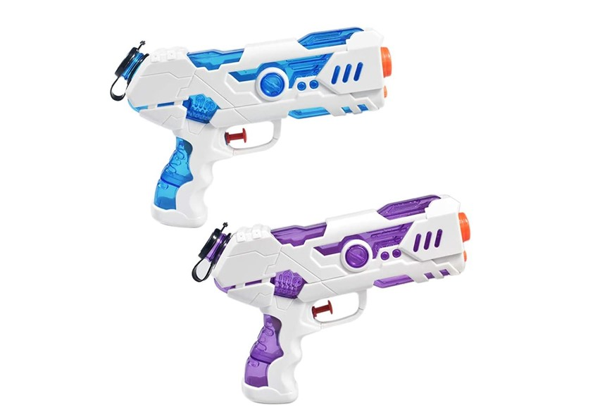 Set of blue and purple water pistol for water game.