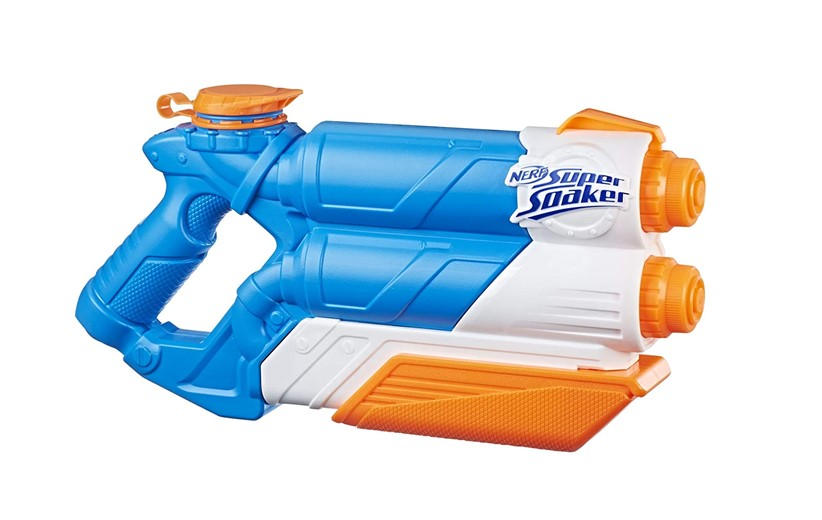 Safe and fun two barrel in one water gun.