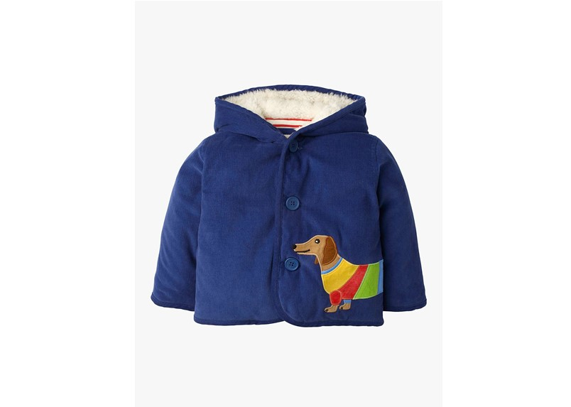 Adorable blue hooded baby cord jacket with sausage dog  design.