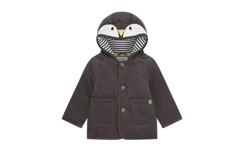Adorable grey penguin cord jacket design for little kids.