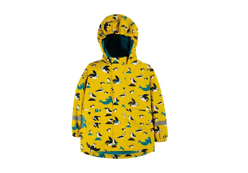 Unique quality of coat with vibrant yellow color, playful penguin and sea lion prints.