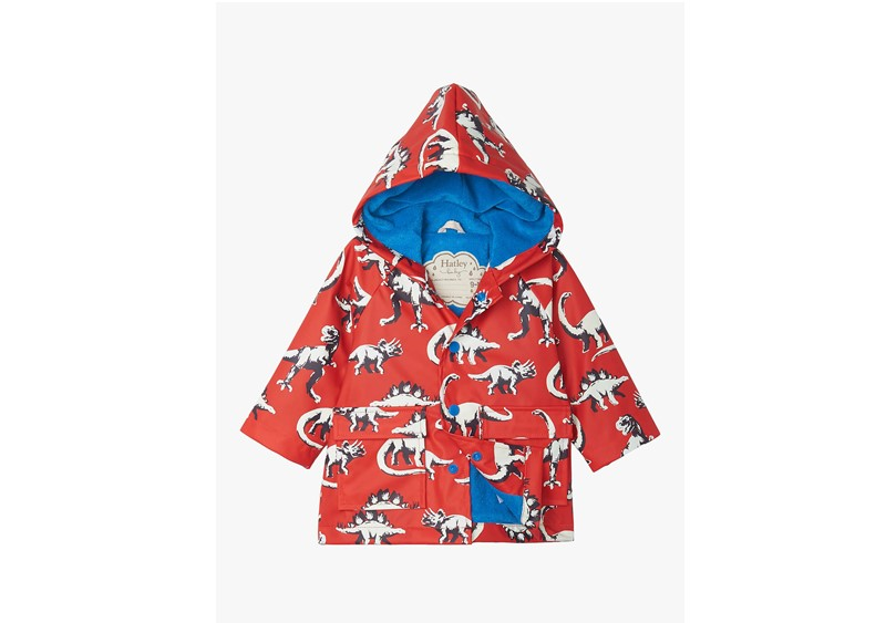 Waterproof cute baby dinosaur color changing raincoat for baby's protection.